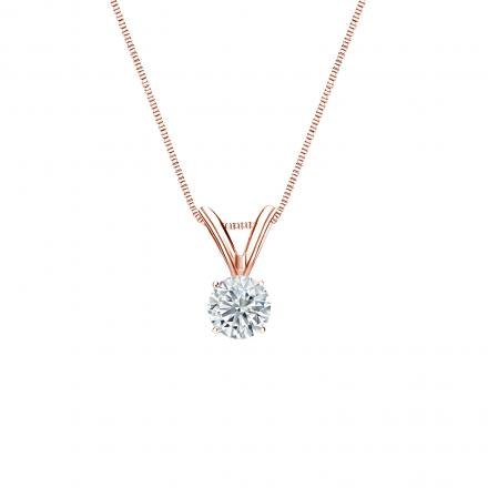 14k Rose Gold 4-Prong Basket Certified Round-Cut Diamond Solitaire Pendant 0.20 ct. tw. (G-H, VS1-VS2)
