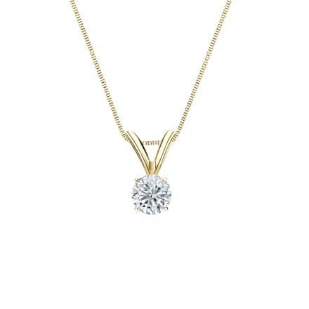 14k Yellow Gold 4-Prong Basket Certified Round-Cut Diamond Solitaire Pendant 0.20 ct. tw. (I-J, I1-I2)
