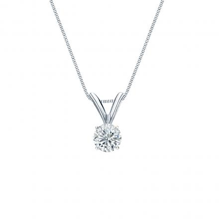 18k White Gold 4-Prong Basket Certified Round-Cut Diamond Solitaire Pendant 0.20 ct. tw. (I-J, I1-I2)
