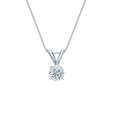 14k White Gold 4-Prong Basket Certified Round-Cut Diamond Solitaire Pendant 0.25 ct. tw. (J-K, I2)