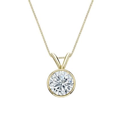 14k Yellow Gold Bezel Certified Round-Cut Diamond Solitaire Pendant 0.75 ct. tw. (I-J, I1-I2)
