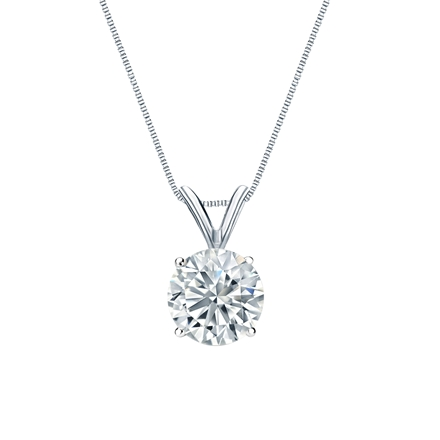 Certified 14k White Gold 4-Prong Basket Round-Cut Diamond Solitaire Pendant 1.00 ct. tw. (H-I, I2-I3)