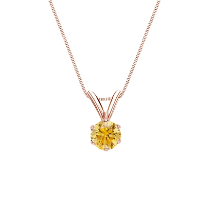 14k Rose Gold 6-Prong Basket Certified Round-cut Yellow Diamond Solitaire Pendant 0.25 ct. tw. (SI1-SI2)