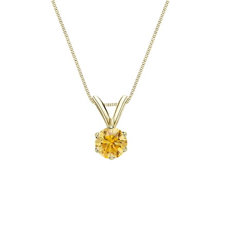 18k Yellow Gold 6-Prong Basket Certified Round-cut Yellow Diamond Solitaire Pendant 0.25 ct. tw. (SI1-SI2)