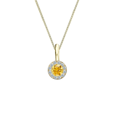 18k Yellow Gold Halo Certified Round-cut Yellow Diamond Solitaire Pendant 0.25 ct. tw. (SI1-SI2)