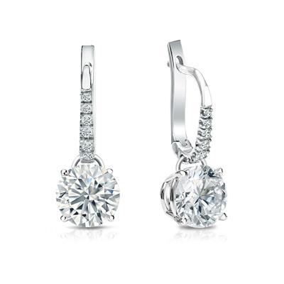 d86ba58a08b EGL USA Certified Round Diamond Stud Earrings in 14k White Gold Dangle Studs  4-Prong