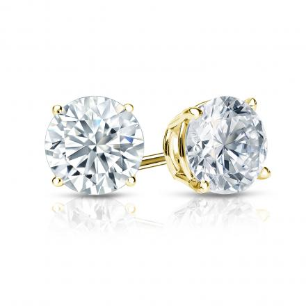 14k Yellow Gold 4-Prong Basket Round Diamond Stud Earrings 1.00 ct. tw. (G-H, SI2)