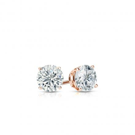 Certified 14k Rose Gold 4-Prong Basket Round Diamond Stud Earrings 0.25 ct. tw. (I-J, I1-I2)