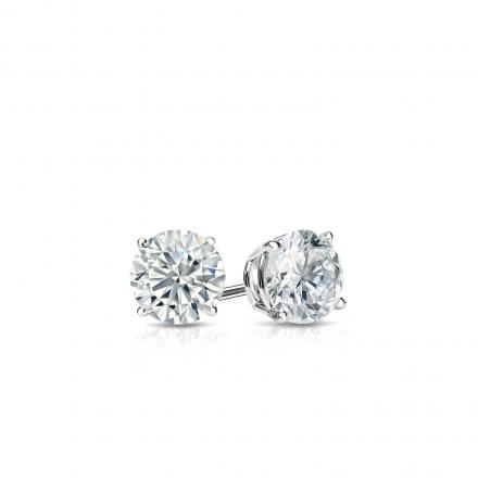Certified 14k White Gold 4-Prong Basket Round Diamond Stud Earrings 0.25 ct. tw. (I-J, I1-I2)
