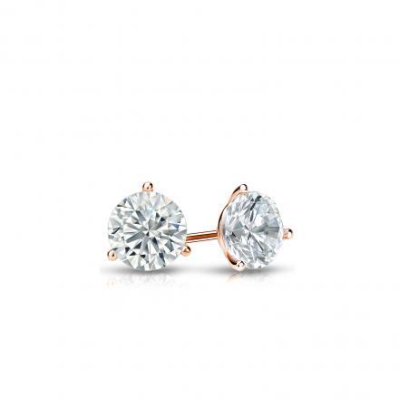 Certified 14k Rose Gold 3-Prong Martini Round Diamond Stud Earrings 0.25 ct. tw. I-J, I1-I2)
