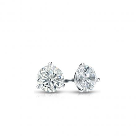 Certified 18k White Gold 3-Prong Martini Round Diamond Stud Earrings 0.25 ct. tw. (I-J, I1-I2)