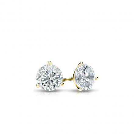 Certified 18k Yellow Gold 3-Prong Martini Round Diamond Stud Earrings 0.25 ct. tw. (I-J, I1-I2)