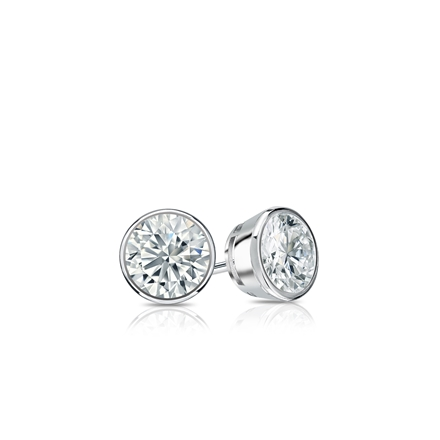 Certified 14k White Gold Bezel Round Diamond Stud Earrings 0 25 Ct Tw J K