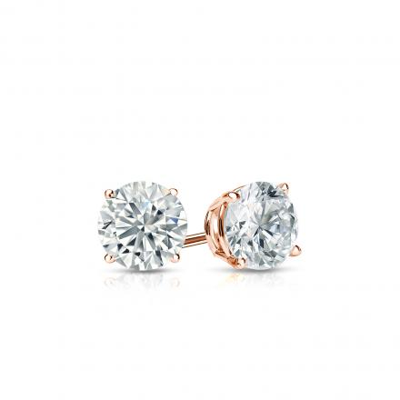 Certified 14k Rose Gold 4 G Basket Round Diamond Stud Earrings 0 33 Ct Tw