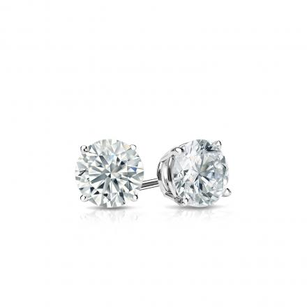 Certified 14k White Gold 4-Prong Basket Round Diamond Stud Earrings 0.33 ct. tw. (J-K, I2)