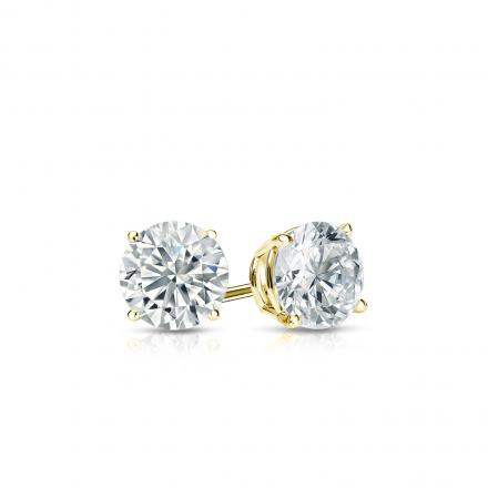 Certified 18k Yellow Gold 4-Prong Basket Round Diamond Stud Earrings 0.33 ct. tw. (I-J, I1-I2)