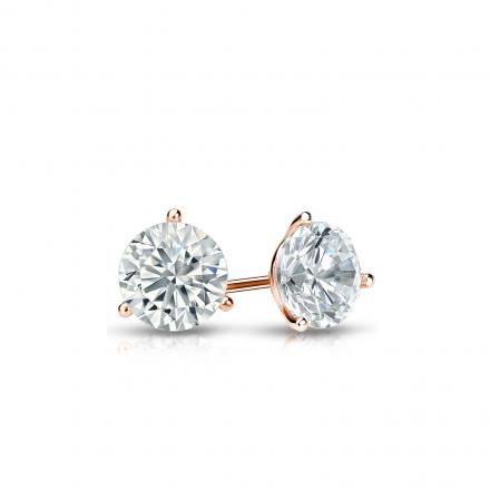 Certified 14k Rose Gold 3-Prong Martini Round Diamond Stud Earrings 0.33 ct. tw. I-J, I1-I2)