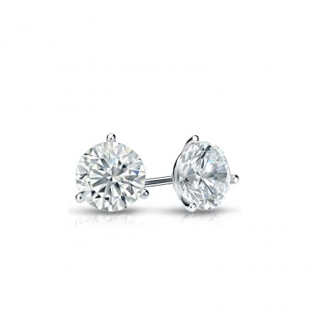 Certified Platinum 3-Prong Martini Round Diamond Stud Earrings 0.33 ct. tw. (I-J, I1-I2)