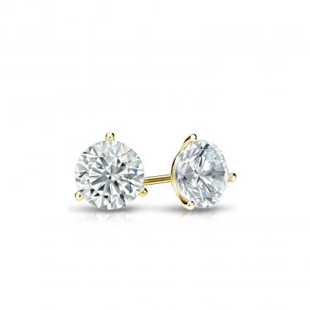 Certified 14k Yellow Gold 3-Prong Martini Round Diamond Stud Earrings 0.33 ct. tw. (I-J, I1-I2)
