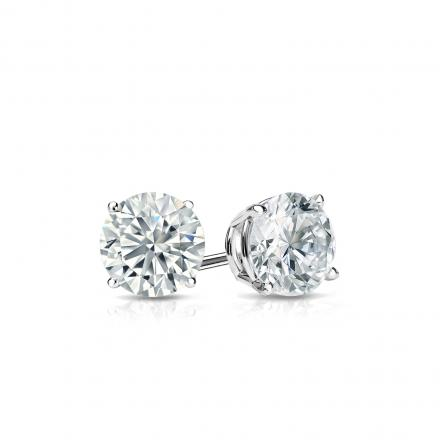 Certified 14k White Gold 4 G Basket Round Diamond Stud Earrings 0 40 Ct Tw