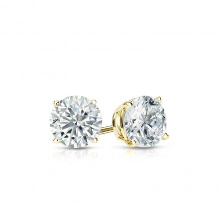 Certified 18k Yellow Gold 4-Prong Basket Round Diamond Stud Earrings 0.40 ct. tw. (I-J, I1-I2)