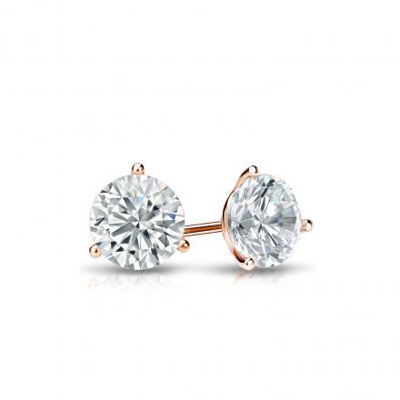 Certified 14k Rose Gold 3-Prong Martini Round Diamond Stud Earrings 0.40 ct. tw. I-J, I1-I2)