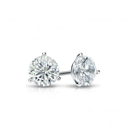 Certified 18k White Gold 3-Prong Martini Round Diamond Stud Earrings 0.40 ct. tw. (I-J, I1-I2)
