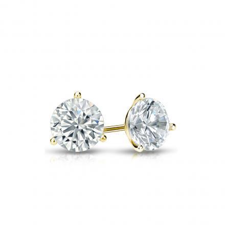 Certified 18k Yellow Gold 3-Prong Martini Round Diamond Stud Earrings 0.40 ct. tw. (I-J, I1-I2)