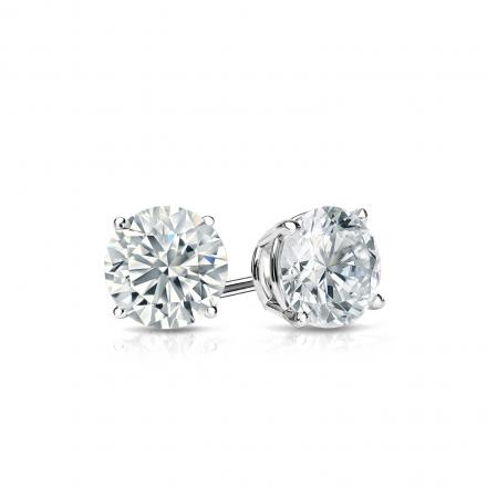 Certified 14k White Gold 4 G Basket Round Diamond Stud Earrings 0 50 Ct Tw H I Si1 Si2