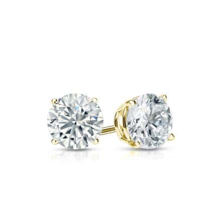 Certified 14k Yellow Gold 4-Prong Basket Round Diamond Stud Earrings 0.50 ct. tw. (I-J, I1-I2)