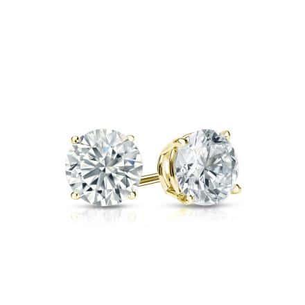 Certified 18k Yellow Gold 4-Prong Basket Round Diamond Stud Earrings 0.50 ct. tw. (I-J, I1-I2)