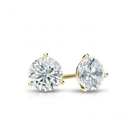 Certified 14k Yellow Gold 3-Prong Martini Round Diamond Stud Earrings 0.50 ct. tw. (I-J, I1-I2)
