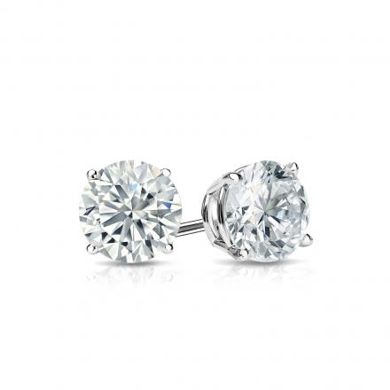 Certified Platinum 4-Prong Basket Round Diamond Stud Earrings 0.62 ct. tw. (J-K, I2)