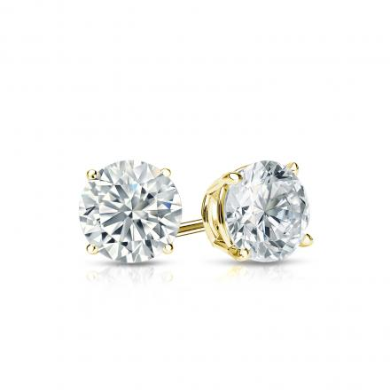 Certified 14k Yellow Gold 4-Prong Basket Round Diamond Stud Earrings 0.62 ct. tw. (I-J, I1-I2)