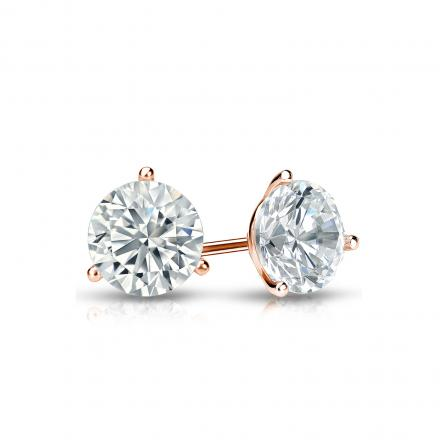 Certified 14k Rose Gold 3 G Martini Round Diamond Stud Earrings 0 62 Ct Tw