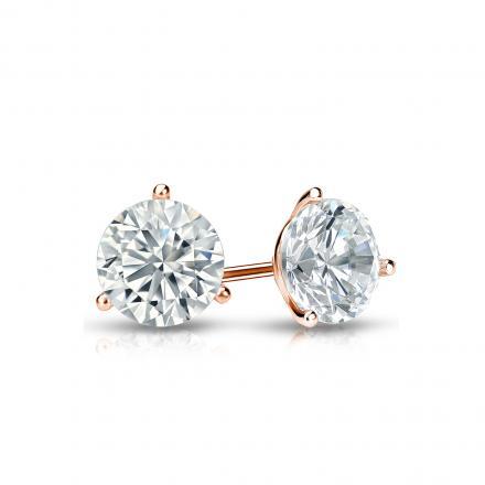 Certified 14k Rose Gold 3-Prong Martini Round Diamond Stud Earrings 0.62 ct. tw. I-J, I1-I2)