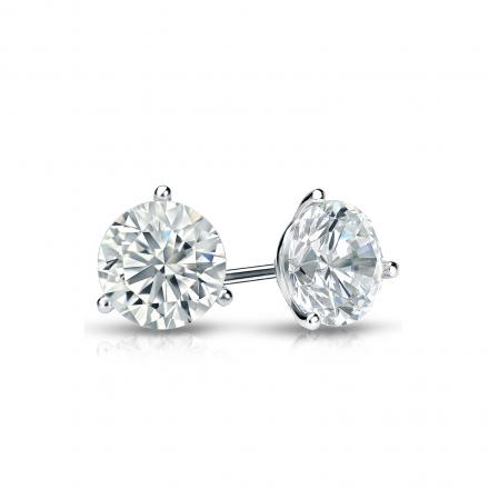 Certified 14k White Gold 3 G Martini Round Diamond Stud Earrings 0 62 Ct Tw