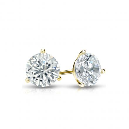 Certified 14k Yellow Gold 3 G Martini Round Diamond Stud Earrings 0 62 Ct Tw