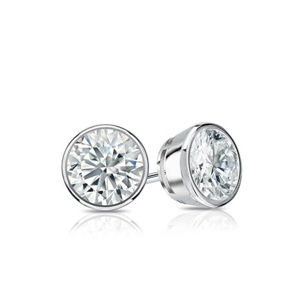 21658486c Certified 14k White Gold Bezel Round Diamond Stud Earrings 0.62 ct. tw.  (G-H, SI2) - DiamondStuds.com