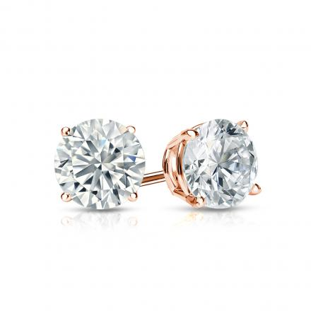 Certified 14k Rose Gold 4-Prong Basket Round Diamond Stud Earrings 0.75 ct. tw. I-J, I1-I2)