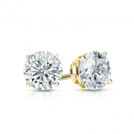 Certified 14k Yellow Gold 4 G Basket Round Diamond Stud Earrings 0 75 Ct Tw