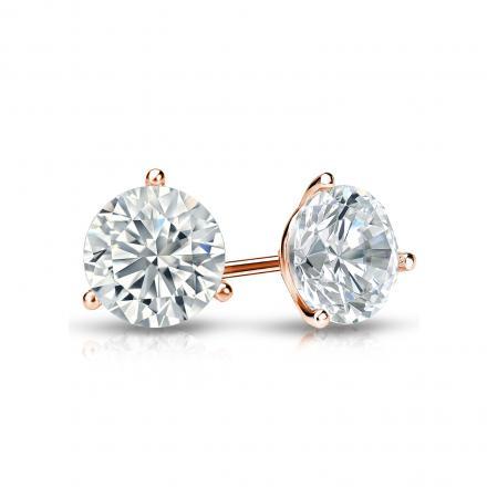 Certified 14k Rose Gold 3-Prong Martini Round Diamond Stud Earrings 0.75 ct. tw. I-J, I1-I2)