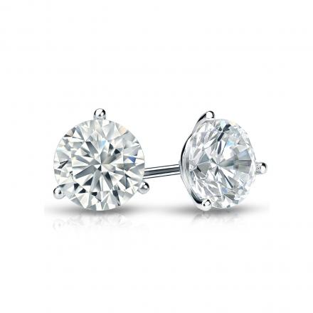 Certified 18k White Gold 3-Prong Martini Round Diamond Stud Earrings 0.75 ct. tw. (I-J, I1-I2)
