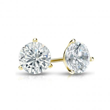 Certified 18k Yellow Gold 3-Prong Martini Round Diamond Stud Earrings 0.75 ct. tw. (I-J, I1-I2)