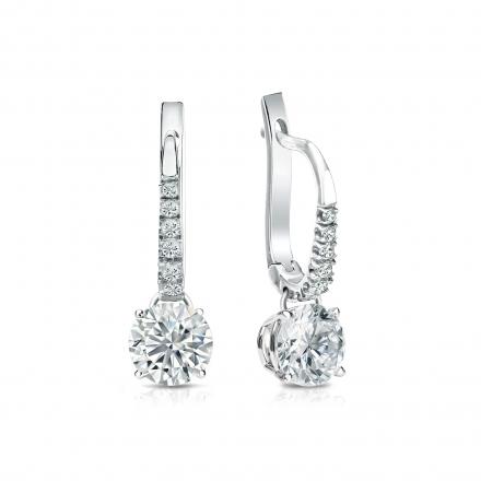 Certified Platinum Dangle Studs 4-Prong Basket Round Diamond Earrings 1.00 ct. tw. (I-J, I1-I2)