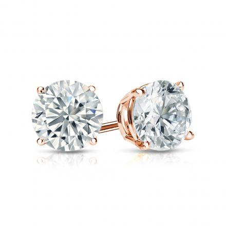 Certified 14k Rose Gold 4 G Basket Round Diamond Stud Earrings 1 00 Ct Tw