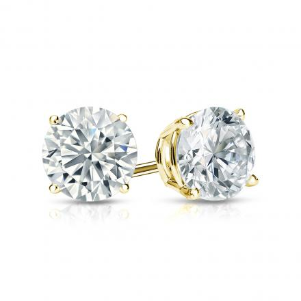 Certified 14k Yellow Gold 4-Prong Basket Round Diamond Stud Earrings 1.00 ct. tw. (G-H, SI2)
