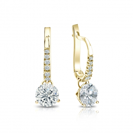 Certified 14k Yellow Gold Dangle Studs 3-Prong Martini Round Diamond Earrings 1.00 ct. tw. (G-H, VS1-VS2)