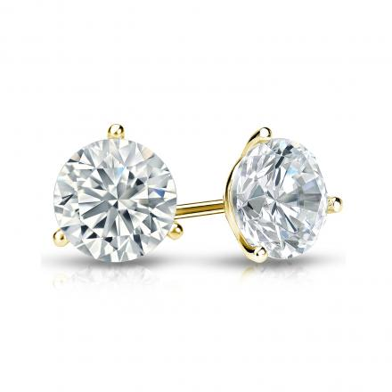 Certified 18k Yellow Gold 3-Prong Martini Round Diamond Stud Earrings 1.00 ct. tw. (I-J, I1-I2)