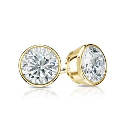 Certified 18k Yellow Gold Bezel Round Diamond Stud Earrings 1.00 ct. tw. (G-H, VS1-VS2)